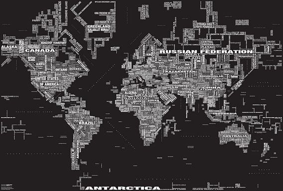 Wereldkaart Typografie, Zwart