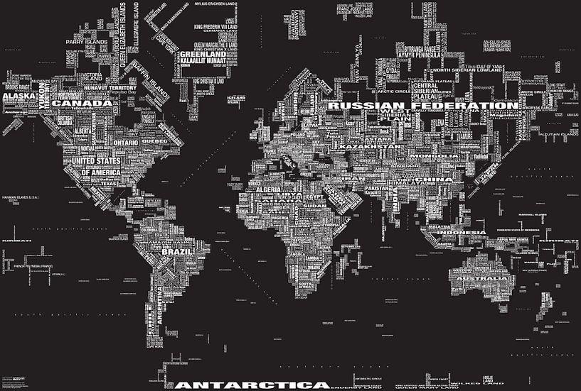 Wereldkaart Typografie, Zwart van MAPOM Geoatlas
