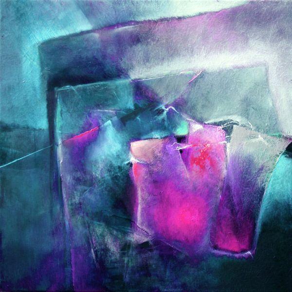 Abstracte compositie: helder magenta met turkoois van Annette Schmucker