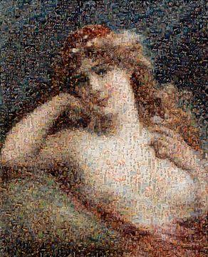 Mosaik, Mädchen mit Gänseblümchen, Émile Vernon von Atelier Liesjes
