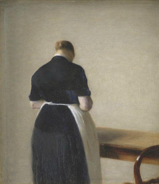 Frau von hinten gesehen, Vilhelm Hammershøi von Meesterlijcke Meesters