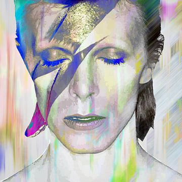 David Bowie Aladdin Sane Abstraktes Porträt von Art By Dominic