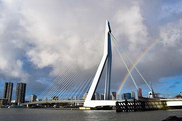 Regenbogen hinter der Erasmusbrücke von Winfred van den Bor
