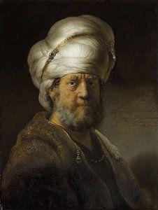 Schilderij van Rembrandt van Rijn:  Een man in oosterse kleding
