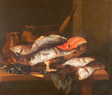 Nature morte avec des poissons, Abraham Hendricksz. van Beyeren sur
