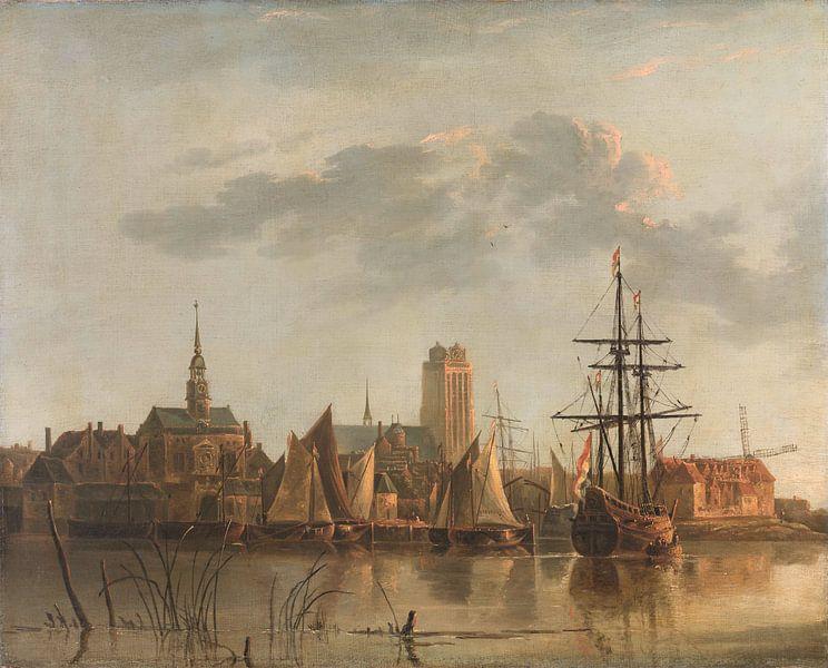 Gezicht op Dordrecht bij zonsondergang, Aelbert Cuyp van Meesterlijcke Meesters