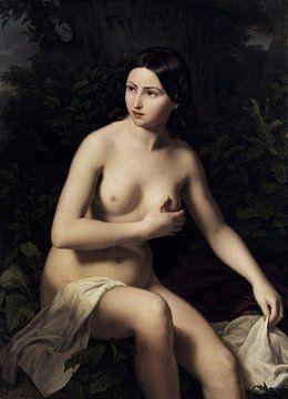Sitzendes Mädchen beim Baden, nackt, Ludwig Löffler (1819-1876),
