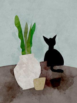 Stilleven met kat van Joost Hogervorst
