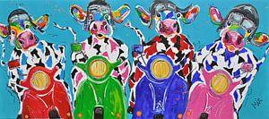 -Koeien in  Italiaanse sfeer op de Vespa scooter