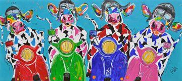 Retro Koeien in  Italiaanse sfeer op de Vespa scooter van Kunstenares Mir Mirthe Kolkman van der Klip