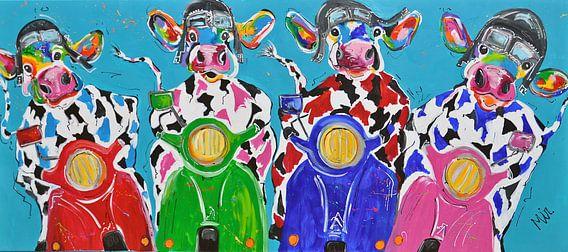 Retro Koeien in  Italiaanse sfeer op de Vespa scooter