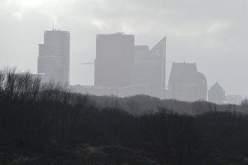 Den Haag Skyline op een mistige dag van Ronald H
