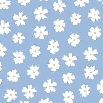 Blauwe bloemen print - minimalistisch modern madelief van Studio Hinte