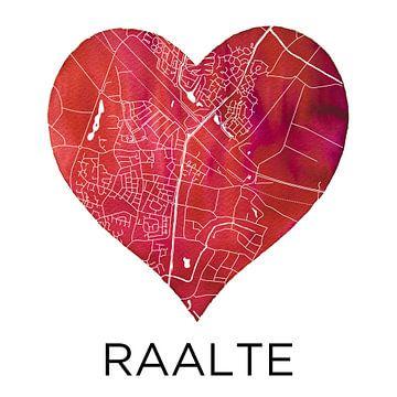 Liefde voor Raalte | Stadskaart in een hart van Wereldkaarten.Shop