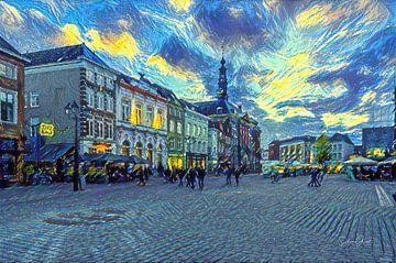 Markt van Den Bosch in de stijl van Van Gogh van Slimme Kunst.nl