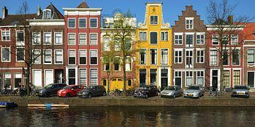 Kleurige Grachtenhuizen in Leiden van Georges Hoeberechts
