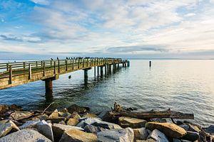 Pier on the Baltic Sea coast in Sassnitz, Germany