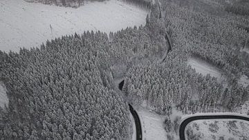 Drone-beeld van een besneeuwd boslandschap van Adrian Meixner