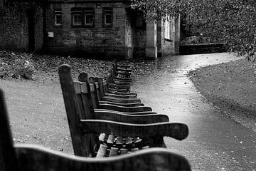 Einsame Bänke in einem herbstlichen Park von Hannon Queiroz