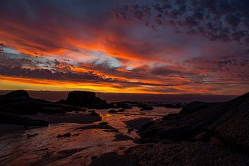 Zonsondergang Bloubergstrand Beach, Tafelberg Zuid Afrika van