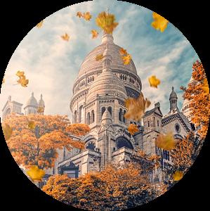 Montmartre in de herfst van Manjik Pictures