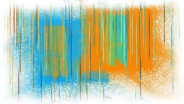 Abstract blauw oranje van Maurice Dawson