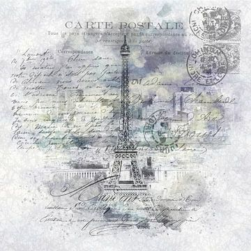 Collage Parijs | Uitzicht vanaf Tour Montparnasse van Melanie Viola
