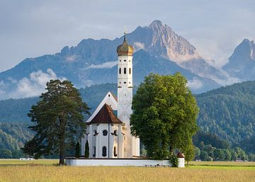 St. Colomankirche, zonsondergang Duitsland van Bob Slagter