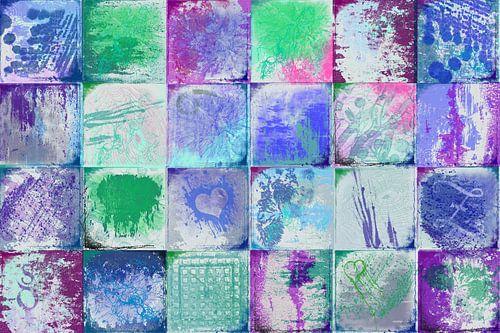 Collage met blauw en groen
