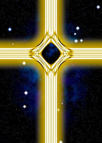 Energetisches Kreuz in gold von Leopold Brix