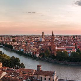Verona - skyline at dusk van Teun Ruijters