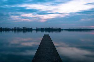 Valkenburgse meer na zonsondergang