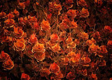 Rozen – Bronzen rozen in een veld van Jan Keteleer