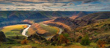 Coucher de soleil sur le fleuve John Day, Oregon, États-Unis. sur Henk Meijer Photography