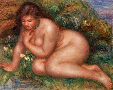 Badende Frau, die sich im Wasser spiegelt, Pierre-Auguste Renoir (1910) von Atelier Liesjes