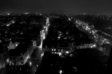 Nachtpanorama Voorstraat, Utrecht van Maurice Moeliker