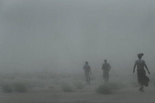 In een zandstorm