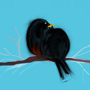 Zwarte vogel van Raina Versluis