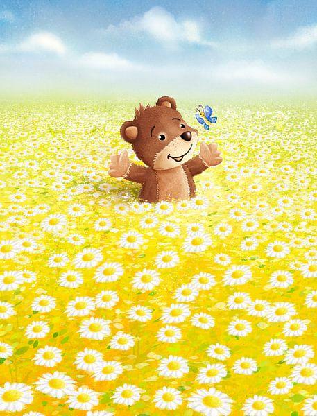 süßer Bär in Blumenwiese von Stefan Lohr