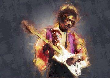 Jimi Hendrix schilderij olieverf portret van Bert Hooijer