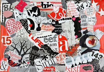 Collage moderne de déchets de papier en rouge et blanc noir sur Trinet Uzun