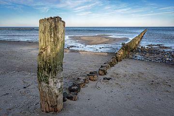 Verweerde houten strandhoofden op het strand van de Oostzee in Noord-Duitsland, toeristenoord landsc van Maren Winter