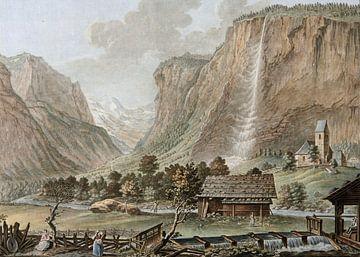 Lauterbrunnental, mit Staubbachfall und Kirche von Lauterbrunnen; Lauterbrunnental; Farbkupferstich, von Atelier Liesjes