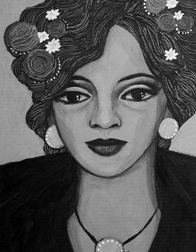 Portrat in Schwarz und Weiß von Lucienne van Leijen