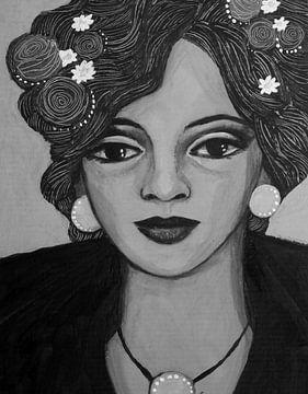Portrait in black and white van Lucienne van Leijen