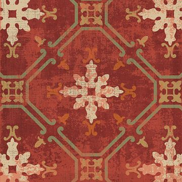 Marokkaanse patchwork Red Tile I, Pela Studio van Wild Apple
