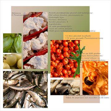 Collage voor de keukenmuur, vierkant, eten, recepten en ingrediënten. Collage for kitchen wall. van Marianne van der Zee