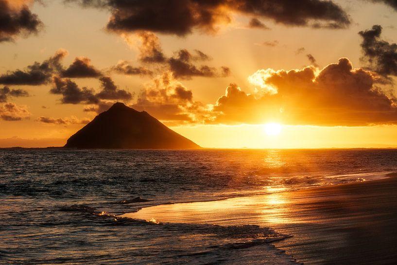 Zonsopgang van de oceaan van road to aloha