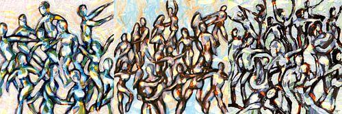 Drieluik Party people van ART Eva Maria