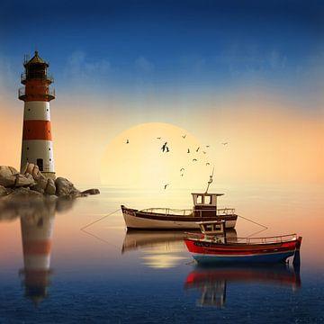 Petit port avec Lighthouse sur Monika Jüngling